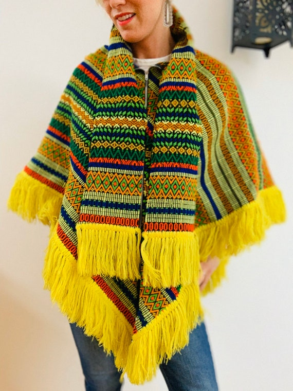 Embroidered Brightly Coloured 70's Poncho - image 5