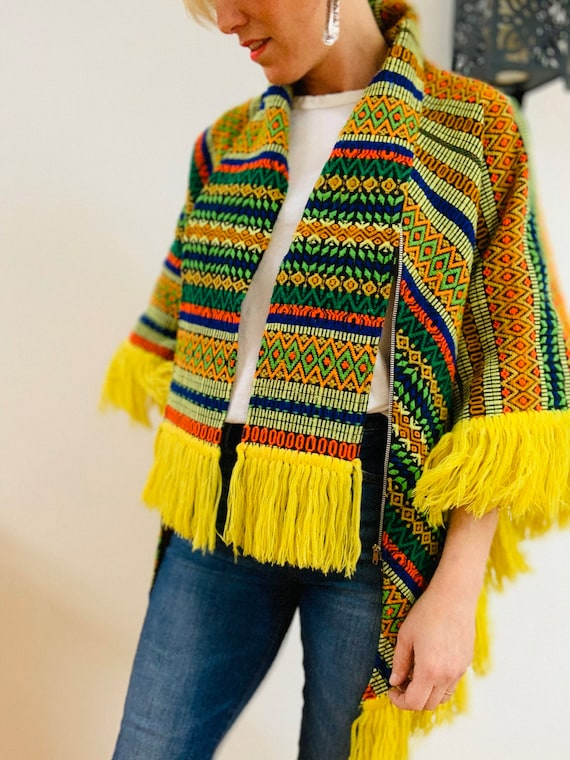 Embroidered Brightly Coloured 70's Poncho - image 10