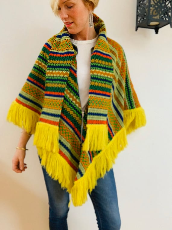Embroidered Brightly Coloured 70's Poncho - image 1