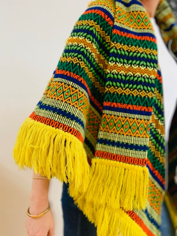 Embroidered Brightly Coloured 70's Poncho - image 9