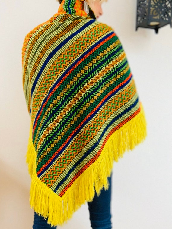 Embroidered Brightly Coloured 70's Poncho - image 2