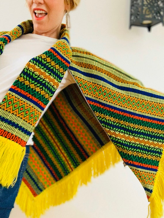 Embroidered Brightly Coloured 70's Poncho - image 8