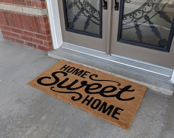 All Natural Home Sweet Home Coir Doormat For Entrance Floor Door Indoor  Outdoor With Robust PVC Back (Exclusive Free 20 Dollar Rubber Mat)