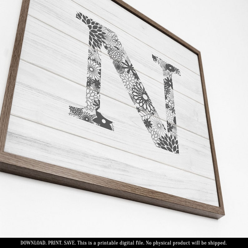 photograph about Letter N Printable named Picket Letter N, Printable Letters for Wall, Printable Wooden Indications, Picket Lettering, Rustic Letter Decor, Farmhouse Lettering, Grey and White