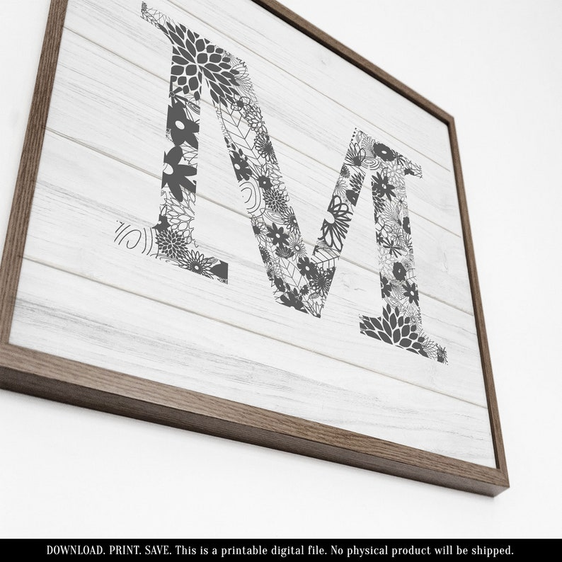 photo about Printable Letters for Signs identify Picket Letter M, Printable Letters for Wall, Printable Wooden Signs and symptoms, Wooden Lettering, Rustic Letter Decor, Farmhouse Lettering, Grey and White