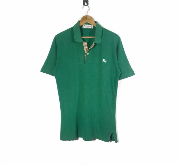 Vintage 90s Green Burberrys Embroidered Logo Polos