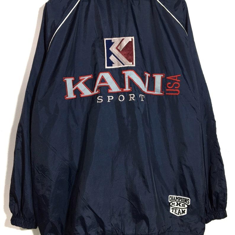 Vintage 90s Blue Kani Jeans Usa Winbreaker Polyester JacketLarge Size