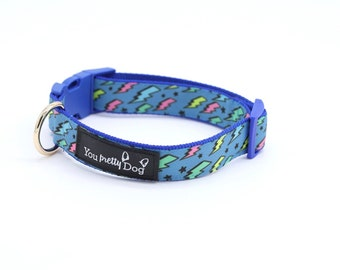 Color Lightning  Thunder Unique  Heavy Duty Beautiful High Quality extra Strong Dog Collar