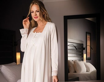 Bondy Women s 2 Piece Maternity and Nursing Nightgown Pajama Set Featuring  Dress with Lace and Pearl Details and Matching Robe with Belt a6382b60a