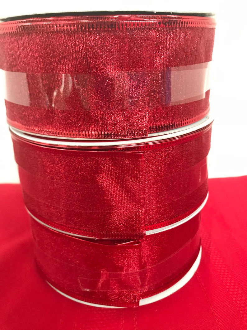 Ribbon Red Wired Ends Jumbo Set of Three Shimmer Red Ribbon Each Roll Measures 75 feet X 2 12 inches