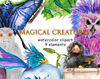 Fantastic Beasts Clipart Clip art Magic Clipart Watercolor Clipart Stickers Movie Clipart Cinema clipart