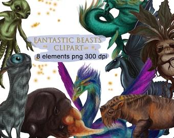 Fantastic beasts clipart Magic School Clipart Magical creatures png Cinema clipart fantasy digital collage sheet Mandrake