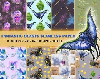 Fantastic Beasts Pattern  Paper Pack Magic  Watercolor Pattern Harry Potter Pattern  Movie Pattern  Digital Paper Pack Magic School
