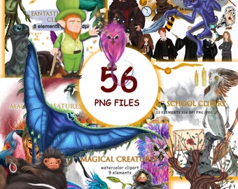 Large set of cliparts with fantastic creatures and other characters