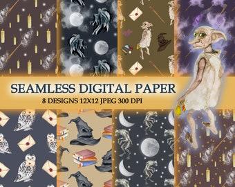 Magic Wizard School Seamless Patterns / Digital Paper Pack