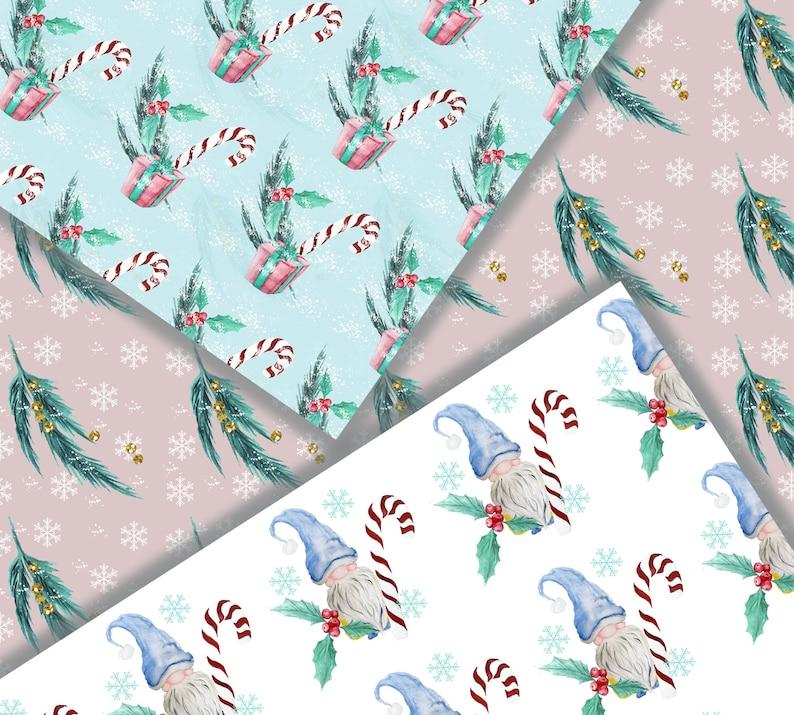 Winter Paper Digital Scrapbook Gnome Patterns Planner Diy Supplies Digital Paper Pack
