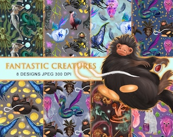 Fantastic beasts Seamless Paper Pack, 12x12 Instant Download