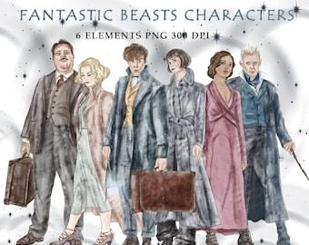 Fantastic beasts characters digital clipart PNG-INSTANT DOWNLOAD