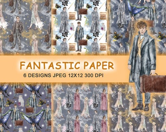 Fantastic beasts characters digital paper 12x12-INSTANT DOWNLOAD