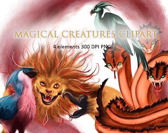 Fantastic beasts clipart Magical creatures clipart PNG 300 DPI