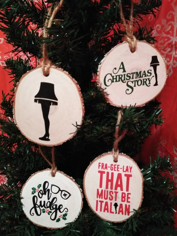 A Christmas Story Ornaments.A Christmas Story Wood Slice Ornament Set Of 4