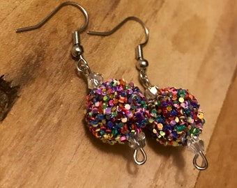 Handmade Multicolor Sparkly Beaded Earrings