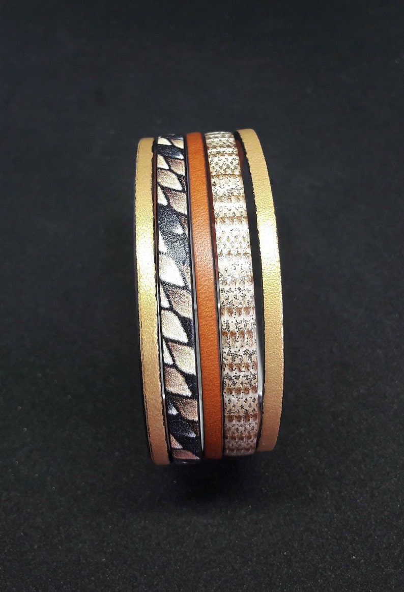 Small genuine leather cuff  magnetic clasp silver plated with hook  brown gold snakeskin fancy  boho style