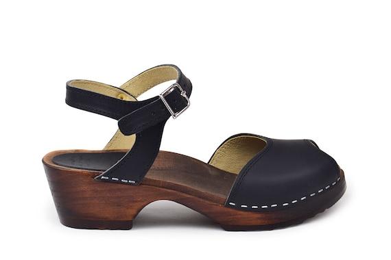 Swedish Low Heel Clog Sandals / Open