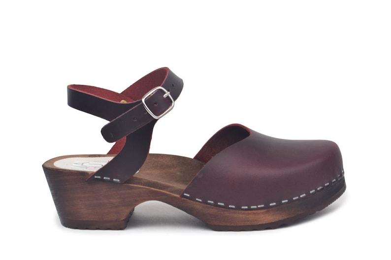 4004495a1cc Swedish Clog Sandals / Low Heel Clogs / Bordeaux Clogs / Handmade Leather  Clogs / Woden Clog Sandal / Maguba Clogs / Monterey Bordeaux