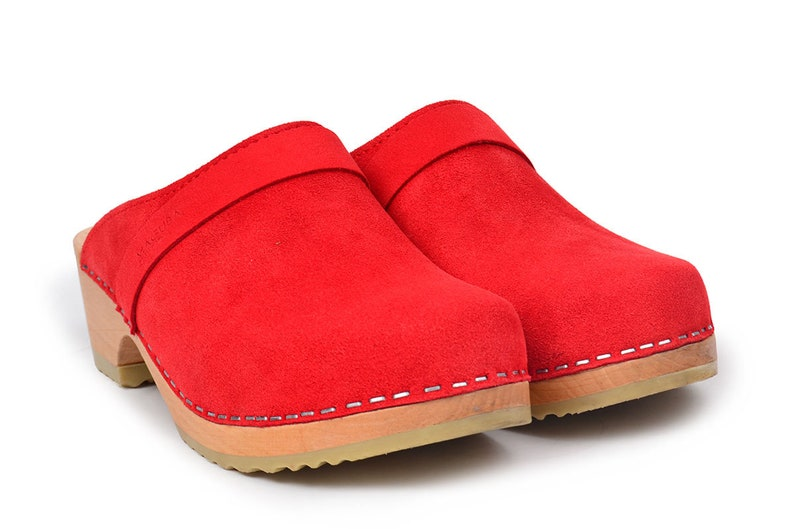Swedish Classic Comfy Clogs Red Maguba Clogs Berkeley Red Suede