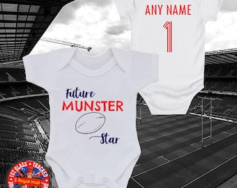 15e9d670c Munster Inspired 'Future Munster Star' Personalised Babygrow Vest, Rugby,  Rugby Union, Gift, Newborn, Kids, Baby Shower