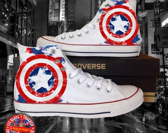 Marvel Inspired Captain America All Star White Converse 47c9af0d8