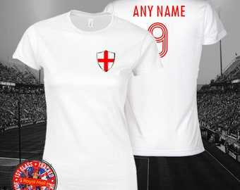 Gift World Cup England Inspired Ladies Football Personalised T-shirt