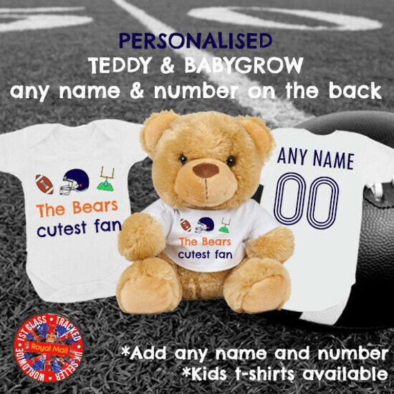 Made in the UK Soccer Mumbles Bear Italy/'s Cutest Fan Babygrow /& Teddy Bear Matching Personalised Gift Football