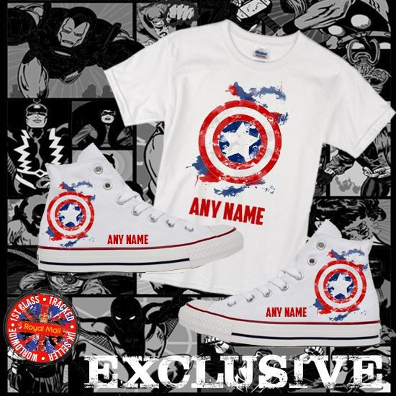 9bb8831388bc8a Marvel Inspired Captain America Converse Kids All Star Hi Top