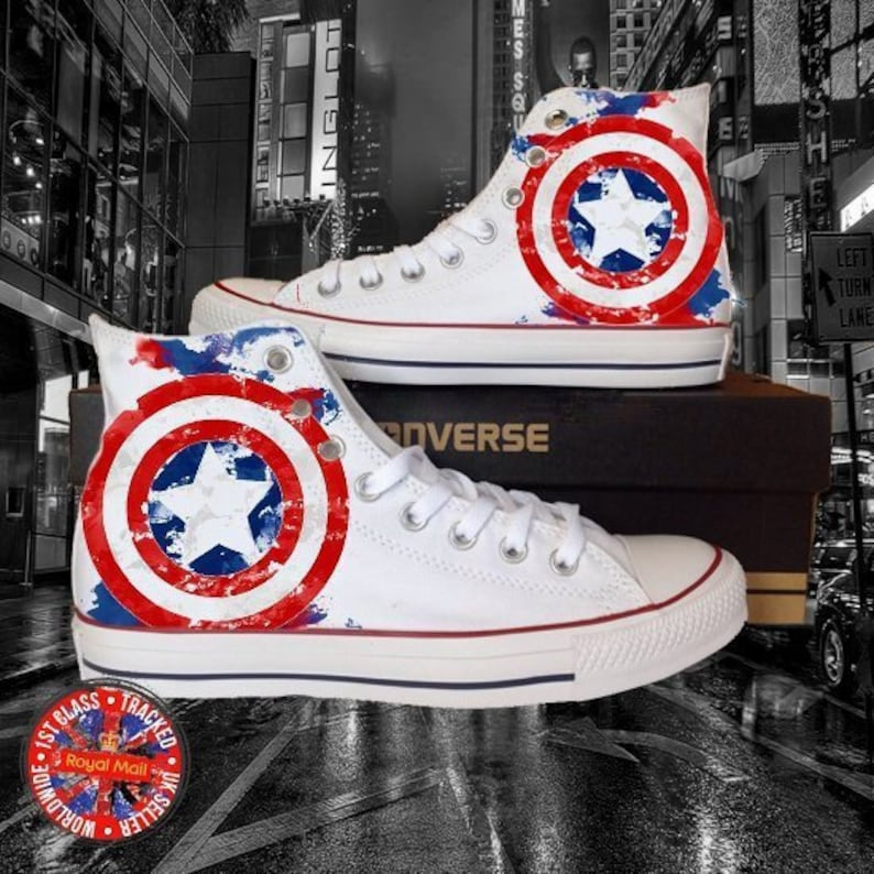 92bba87130 Marvel Inspired Captain America All Star White Converse, Gift Ideas,  Exclusive, Limited Edition, USA, American, Fans