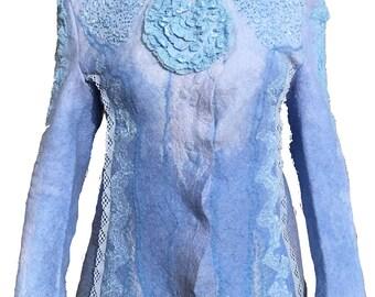 Nuno feltrata feltro lana dimagrante a mano blu Art di indossare uno di una  giacca tipo 11a8ee4ac50