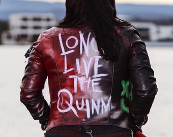 be1d852b3da4 Punk Harley Quinn Inspired Faux Leather Jacket Suicide Squad Comic (+ Free Harley  Quinn Gift)