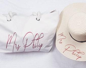 da359500 Personalised Beach Hat And Beach Bag,Floppy Beach Hat,Beach Bag,Tote  Bag,Bridal Beach Hat,Bridal Beach Bag