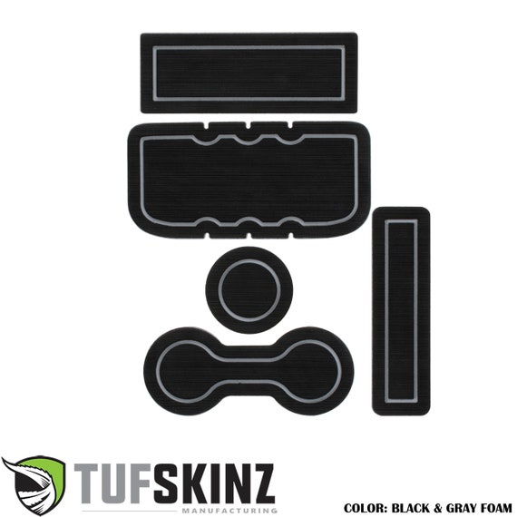 TufSkinz Interior Cup Holder Inserts Fits 2014-Up Tundra with Bucket Seats 7 Piece Kit Black//Red