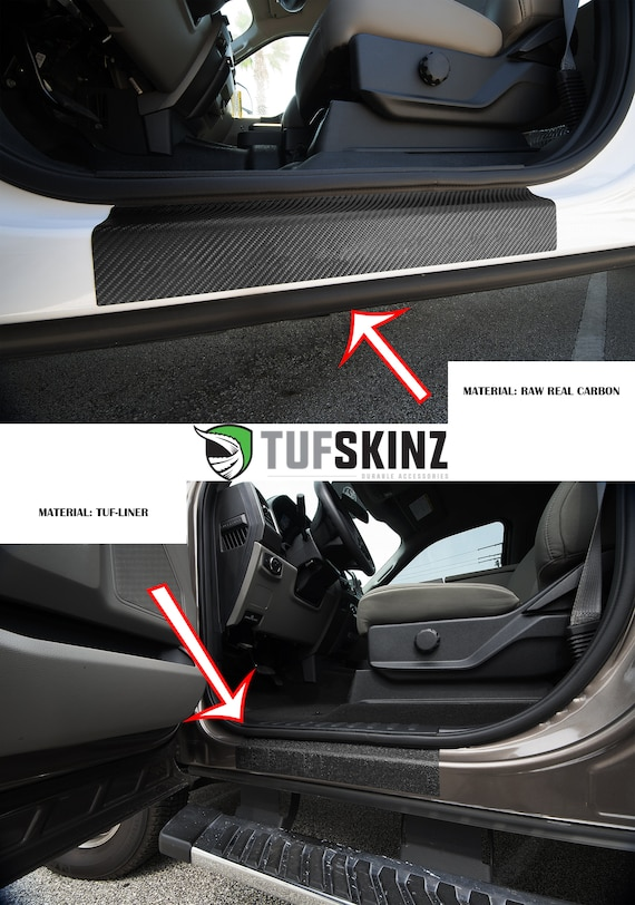 Fits 2017-Up Ford Super Duty /… Rear Door Sill Protection TufSkinz 2 Piece Kit Real Carbon Fiber, Black w//Gray Outline Logo