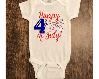 9300456ba Happy 4th of July Onesie/ Tee/ Tshirt/ Fourth of July/Independence Day