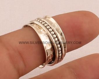 Solid 925 Sterling Silver Brass Spinner Ring Hammered Handmade Jewelry v1692