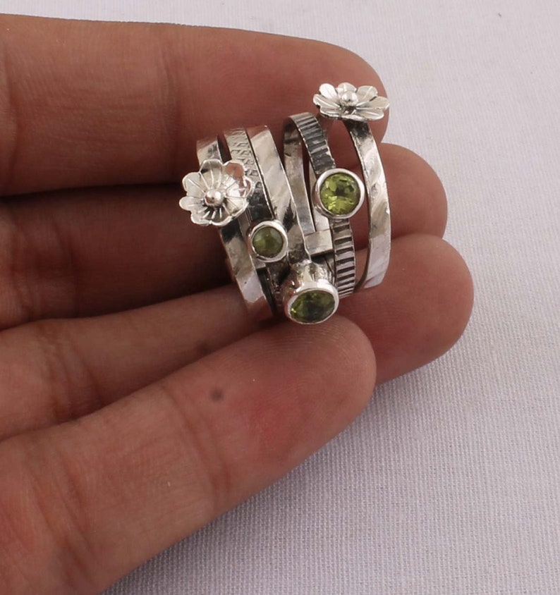 Natural Peridot Top Quality Gemstone Ring,Spinner Ring,Handcrafted Boho Ring,Thumb Ring,Wedding Ring Small Size Stone Ring Gift For Her