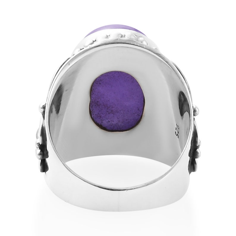Amazing Purple Jade Top Quality Gemstone Ring,925-Antique Silver Ring,Middle Finger Ring,Antique Silver Ring,Wedding  Ring Gift For Her