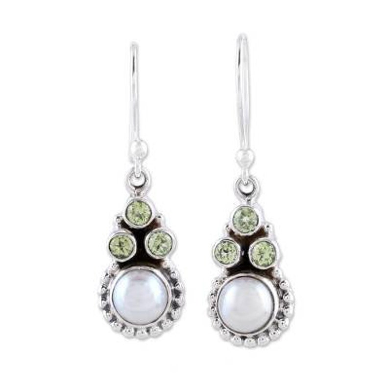 Pearl+Peridot Gemstone Earring Cabochon /& Cut Stone/'s Boho Earring,Antique Silver Combo Earring Gift For Her Etsy Cyber Valentine/'s Day Gift
