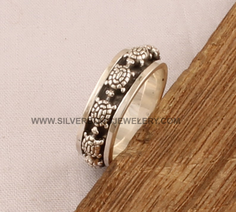 12. Turtle Solid 925 Sterling Silver Spinner Ring For Women