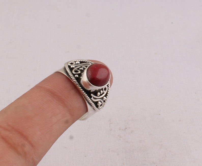 Cabochon Ring Antique Silver Ring Natural Red Jasper Gemstone Rings Sterling Silver Ring Oval AAA+Quality Stone Women Gift Dainty Hoop