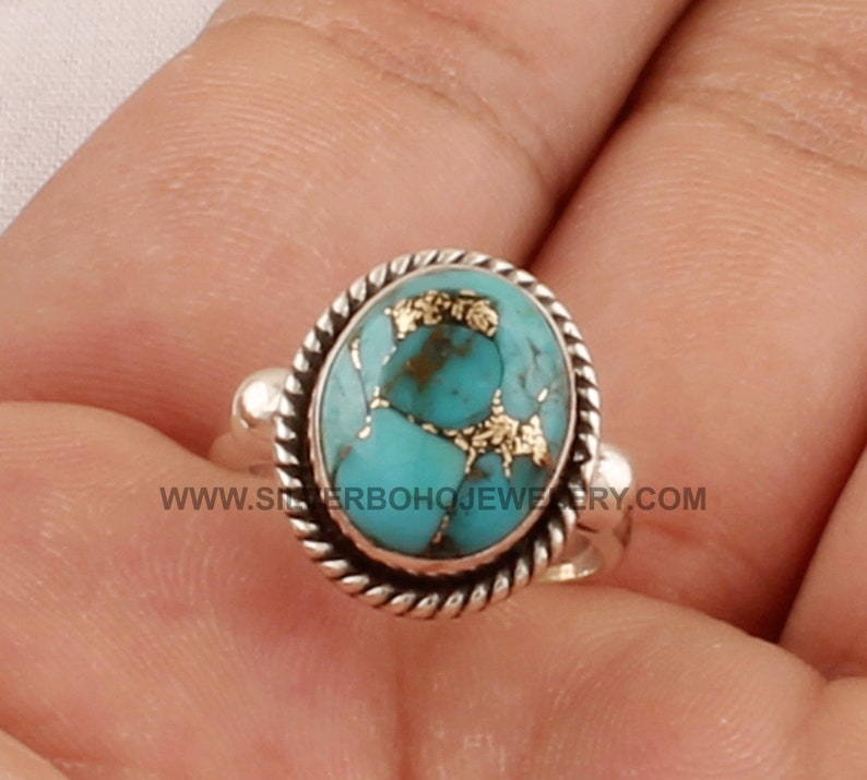 Handmade Composite Turquoise Ring For Wedding Gift For Her Blue Copper Turquoise Oval Gemstone Solid 925 Sterling Silver Ring For Women