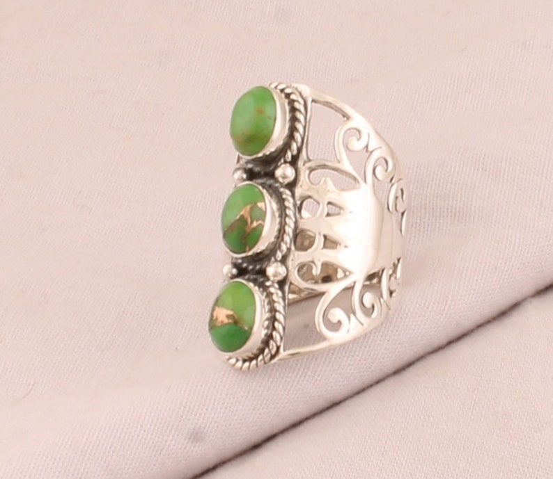 Handmade Jewelry Designer Three Gemstone Ring 925 Sterling Solid Silver Ring Green Copper Turquoise Oval Shape Gemstone Silver Ring